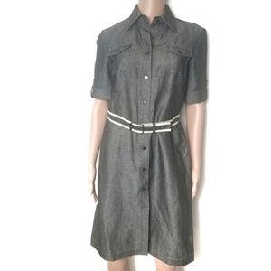 Tahari | Belted Gray Thicker Fabric Shirt Dress